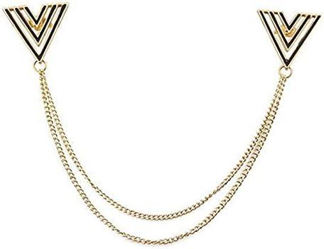 2pcs Cuello Camisa Triángulo Hueco Cadena Joyería Pin Broche Vintage brooch