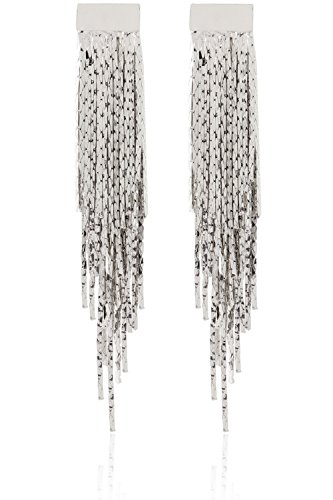 Chain Fringe Earrings - Dangling Chain Fringe Chandelier Earrings by Lovey Lovey (Silver)