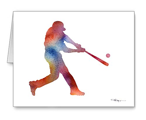 Baseball Player Set of 10 Art Note Cards by Watercolor Artist DJ Rogers ()