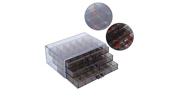 Caja de Almacenamiento de Accesorios, Herramienta de Arte de Uñas de Joyería, Tres Capas 72 Almacenar Caja de Almacenamiento de Plástico, Estuche para Uñas(02): Amazon.es: Belleza