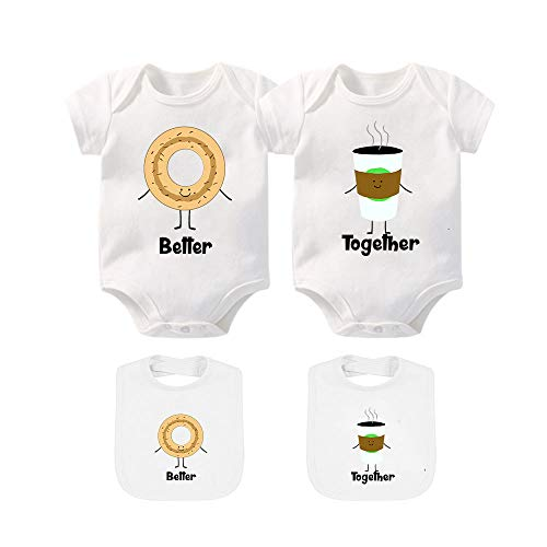 YSCULBUTOL Baby Bodysuits for Unisex Boys Girls Long Sleeve White Twin Clothes Boy Girl Perfect Together Newborn to 12 Months (White10, 0-3 Months)