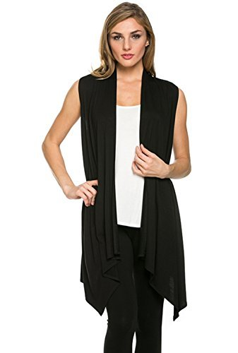 Women's Solid Color Sleeveless Asymetric Hem Open Front Cardigan (Black, (Women Black Sweater Vest)