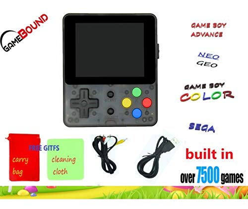 Gamebound LDK Game 4:3 Retro Handheld Game Console – Clear Black + Free gift carry bag