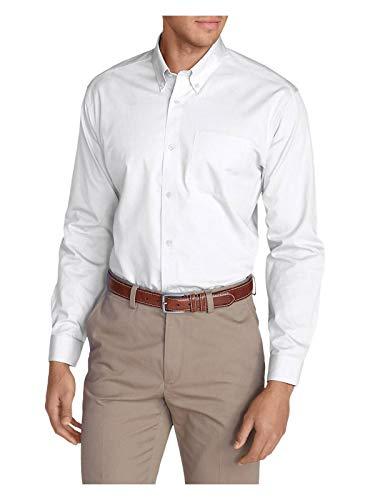 (Eddie Bauer Men's Wrinkle-Free Slim Fit Pinpoint Oxford Shirt - Solid, White Reg)