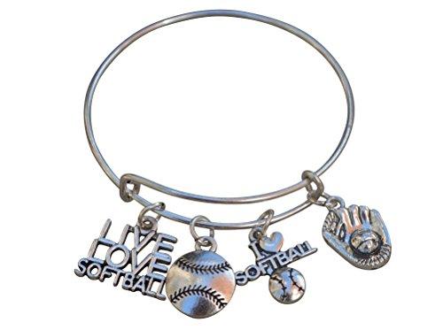 Softball Bracelet- Girls Softball Jewelry - Perfect Softball Player, Team and Coaches Gifts