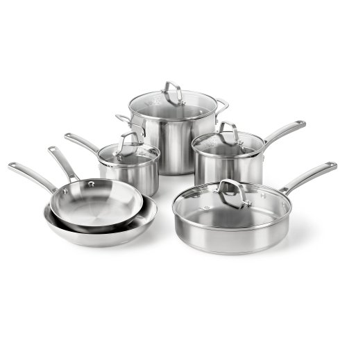 Calphalon Classic Stainless Steel Cookware Set, 10-Piece (Cookware Pots And Pans compare prices)