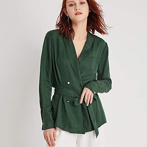 Julia Temperamento Rame Moda green Top Camicia Primavera Cintura Doppiopetto xl Donna Versatile Ammoniaca rwErqC8