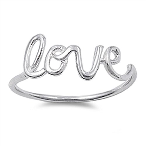 [Sterling Silver .925 Love Script Ring Sizes 4-10 (4)] (Love Ring)