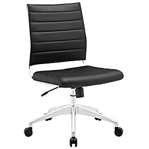 Modway Jive Ribbed Armless Mid Back Swivel Conference Chair In Black