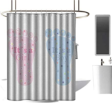 Timbeve Home Decor Shower Curtain By Gender Reveal Baby Footprints And Floral Blossoms Heart Icons Stars Surprise Pale Blue Pink Metal Rust Proof Grommets Bathroom Decoration 54 X78
