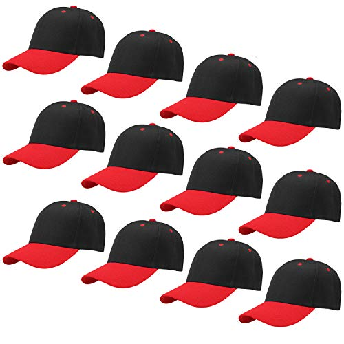 Falari Wholesale 12-Pack Embroidered Baseball Cap Adjustable Size (Black/Red)
