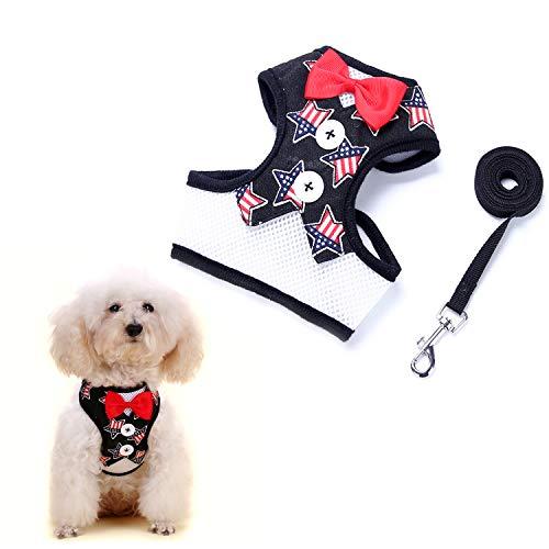 uFashion3C - Juego de arnés y Correa para Perro, con Corbata de Lazo y Chaleco Negro para Cachorros y Perros pequeños,...