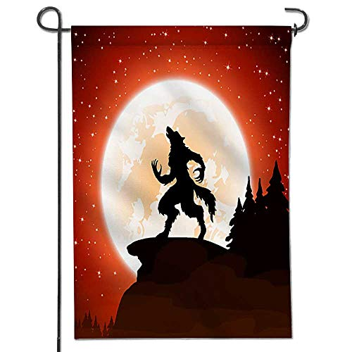 Jiahonghome Seasonal Garden Flag Halloween Night and Werewolf on Moon Double Sided Weatherproof Flags24 x 36