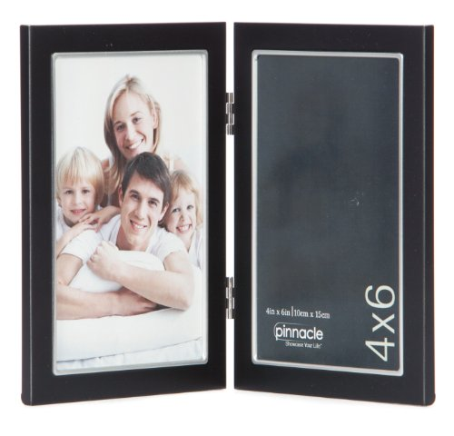 Pinnacle Metal 4x6 Double Black and Silver Hinged Picture Frame