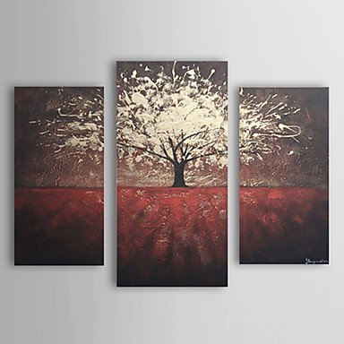 [Sanbay Art Hand Painted Oil Paintings on Canvas Hot Sale Twinkle Tree Red Soil Wood Framed Inside 1-piece Set Artwork for Living Room Kitchen and Home Wall] (Work Out Video Star Costume)