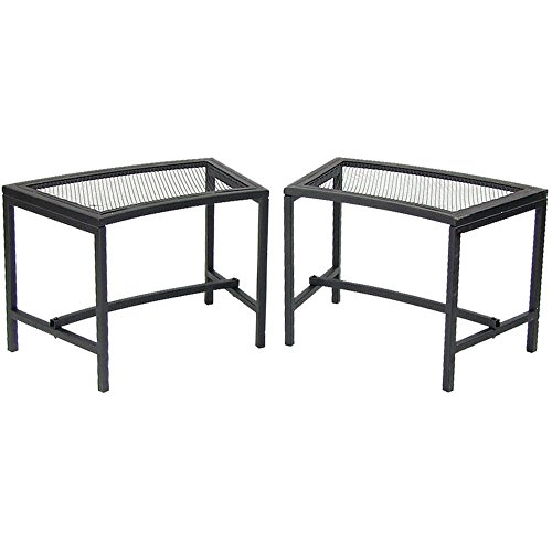 Sunnydaze Fire Pit Bench, Outdoor Patio Seating, Black Mesh - Set of 2 (Backless Bench Curved)