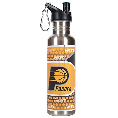 Great American Products NBA Indiana Pacers Steel Water Bottle with Metallic Graphics, 26 oz, Silver by Great American Products