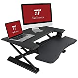 "Standing Desk, TaoTronics 36"" Adjustable Sit to Stand Desk Converter Riser for Dual Monitors, 12 Height Levels with Spring Hovering, Stand Up Desktop Workstation Transition"