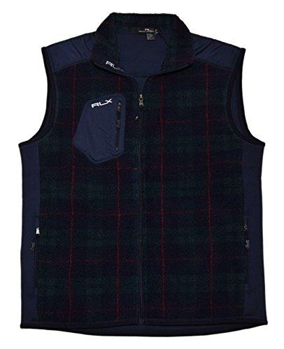 Ralph Lauren Plaid Vest - RALPH LAUREN Polo RLX Mens Fleece Full Zip Jacket Coat Blue Green Plaid Large