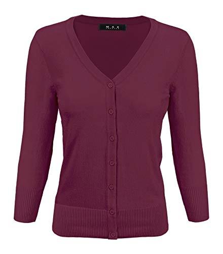 YEMAK Women's 3/4 Sleeve V-Neck Button Down Knit Cardigan Sweater -