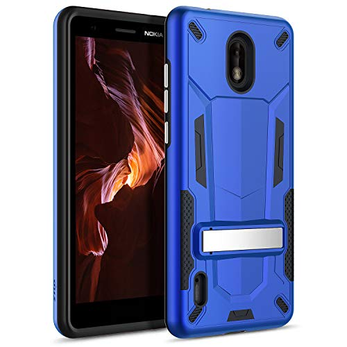 Zizo Transform Series Compatible with Nokia 3.1 C Case Dual Layered with Built in Kickstand Slim and Shockproof Blue Black