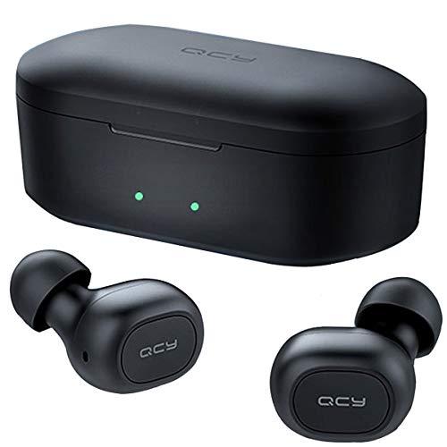 QCY T1S アップグレード ワイヤレスイヤホン Bluetooth 5.0 自動ペアリング 完全ワイヤレス ブルートゥース イヤホン bluetooth イヤホン マイク付き カナル Hi-Fi 高音質 両耳 片耳 ハンズフリー 通話 防水 イヤホン ワイヤレス ヘッドホン ヘッドセット 長時間 スマホ iPhone Android対応 ブラック QCY-T1S