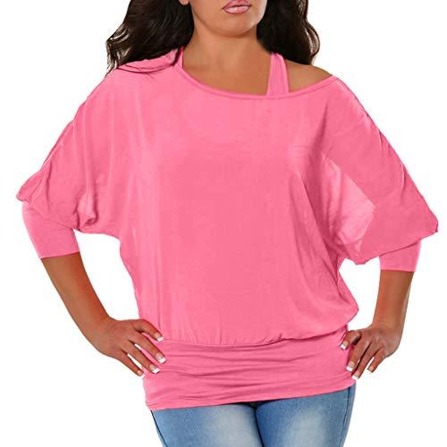 Shusuen Women's Batwing Sleeves Blouse Kimono Tunic Loose Fitting Shirts Pink ()