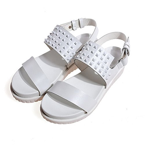 AmoonyFashion Womens Open Toe Low Heels Soft Material Solid Buckle Sandals White g5NLV