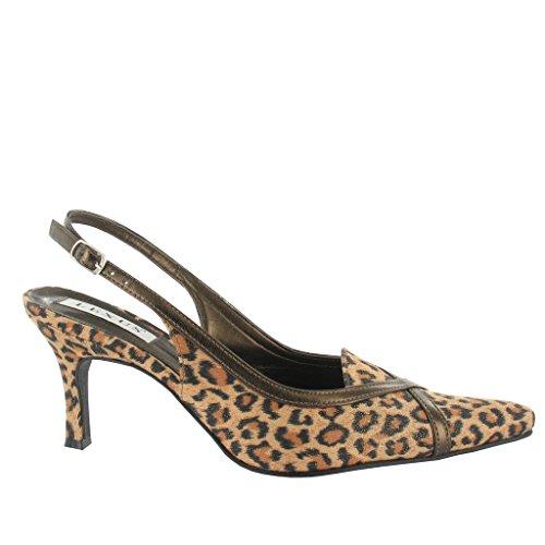 LEXUS - Zapatos con correa de tobillo mujer leopardo marrón