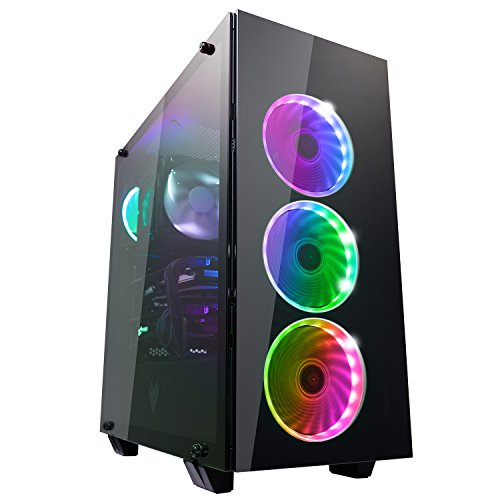 FSP ATX Mid Tower PC Computer Gaming Case with 3 Translucent Tempered Glass Panels and 5 RGB Lighting Modes (CMT510)