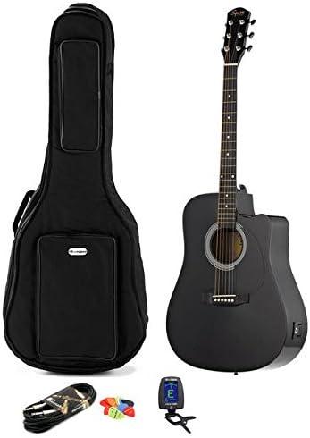Guitarra acústica electrificada negra Fender Squier SA-105CE + ...