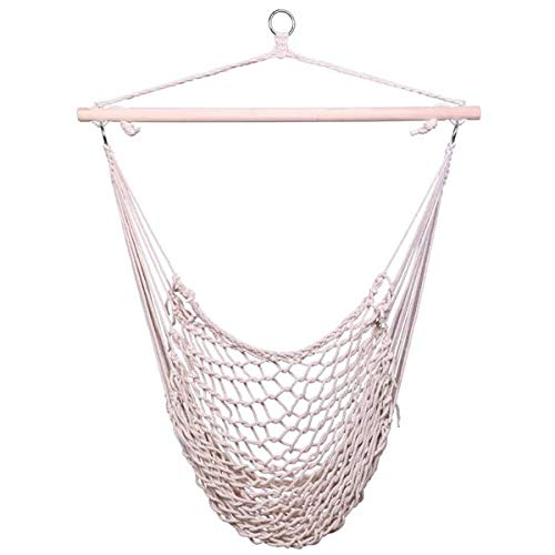 seelee Hanging Rope Air Sky Chair, Cotton Hanging Hammock Net Chair with Wooden Stick for Indoor Outdoor Porch, Garden, Yard, Patio, Weight Capacity 250lb