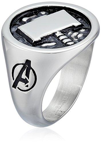 Marvel Comics Men's Stainless Steel Enamel Thor Hammer Ring, Size 9