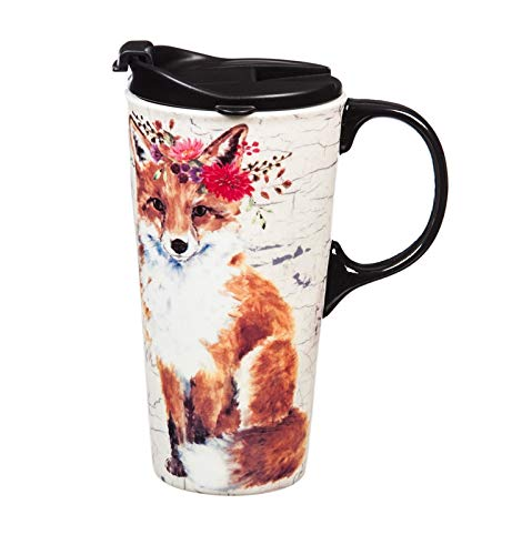 (Cypress Home Fox with Floral Headband Metallic Ceramic Travel Cup with Tritan Lid and Box)