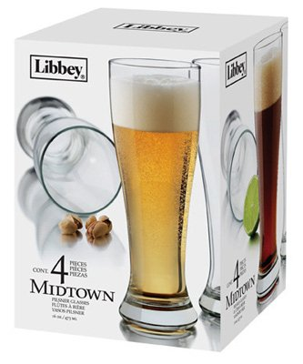 Libbey-Glass-1604S4-Pilsner-Beer-Glass-Barware-4-Pc-Set