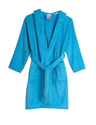 TowelSelections Big Girls' Robe, Kids Hooded Cotton Terry Bathrobe Cover-up Size 14 River Blue (Kids Clothes Cotton)