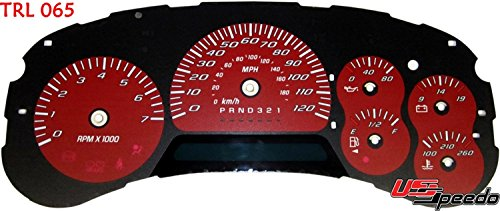 US Speedo TRL065 - Daytona Edition Gauge Faces - Red / Blue Night - 120 MPH - for: Chevy Trailblazer, Envoy