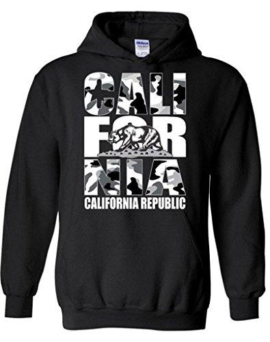 icustomworld California Republic Hoodie White Camo Hooded Sweatshirts L Black