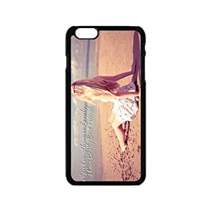 Alone Quotes Pretty Girl Sandbeach Custom Design Apple Iphone 6 4.7inches Hard Case Cover phone Cases Covers