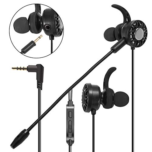3.5mm Gaming Earbuds with Mic Insten In-Ear Gaming Headset Stereo Headphones with DUAL MICROPHONE [DETACHABLE and BUILT-IN] compatible with PS4 xBox One Nintendo Switch PC Mobile Game Cell phone Black
