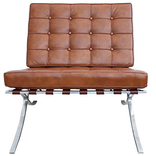 Barcelona Chair In Cognac Semi Aniline Leather With Steel Frame:  Amazon.co.uk: Kitchen U0026 Home