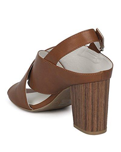 Collection Block Whiskey Diva Wild Mule Sandal Heel Women HD06 by Casual Dressy Chunky Heel Peep Faux Alrisco Heel Lounge Slingback Toe Wooden UwEAqT1RT