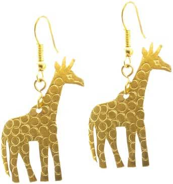 Maisha Fair Trade Hammered Brass Giraffe Drop Earring