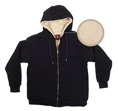 North 15 - Men's Hooded Sweatshirt, Plus-Sherpa Lined (Extra-Soft), Zipper Front - XX-Large, Black