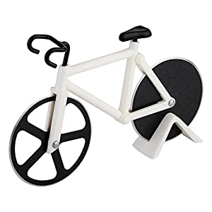 Besiva Pizza Cutter - Bicycle Pizza Cutter Wheels, Kitchen & Dinning Stainless Steel Wheels Cutter Tool(Black/White)