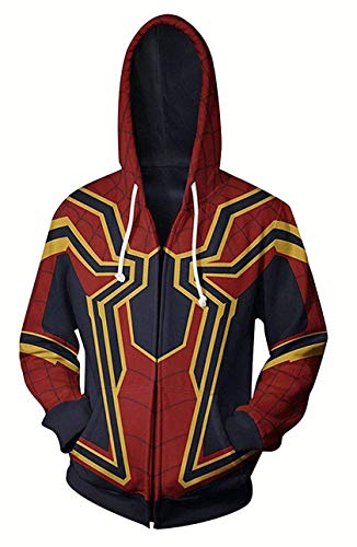 WKDFOREVER 3D Captain Fashion Cosplay Hoodie Jacket Costume (Large, Spider)