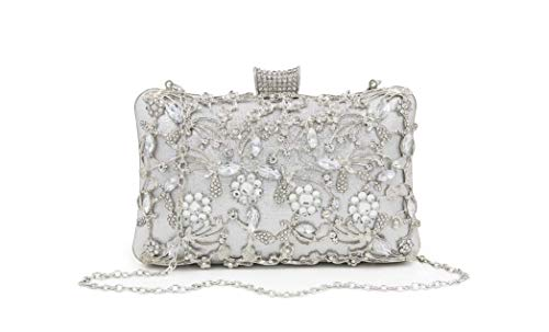 FIVE FLOWER Evening Bag Clutch Purse Handbags for Womens Shoulder Bag for Bridal Wedding Party Prom Annual meeting with Sparkly Rhinestones (Silver)