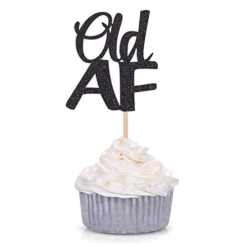 24 Counts Black Glitter Old AF Cupcake Toppers Birthday Celebrating Party Decorations