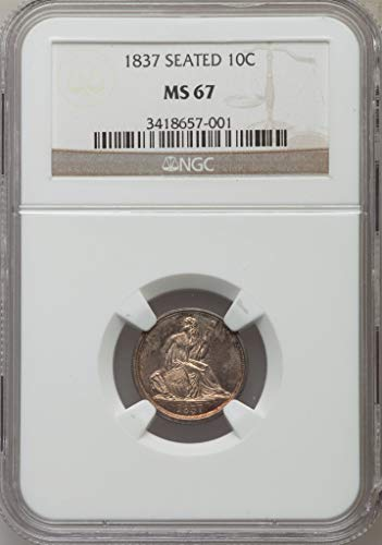 1837 P Liberty Seated Dime Dime MS67 NGC (Dimes Ms67)