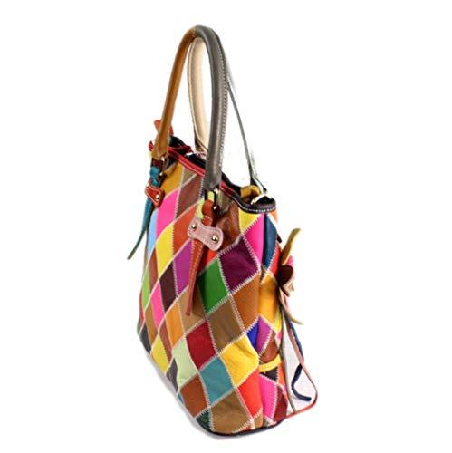 colore da vera di borse borsa tracolla diagonale capacità di secchio donna tot pelliccia di a grande mucca Ploekgda stoccaggio di patchwork a4q0Xx6ww